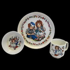Raggedy Ann and Andy Oneida Deluxe Melmac Childs Dish Set Plate Bowl Cup