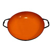 Orange Black Enamel Bowl Saute Pan Poland Midcentury Modern