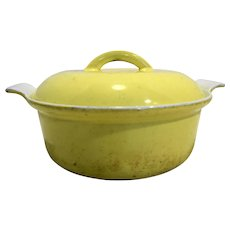 Descoware Yellow White Enamel Cast Iron Small Dutch Oven Belgium