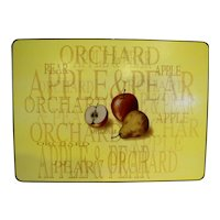 Orchard Apple Pear Placemats Yellow Gold Trim Set of 6