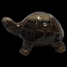 Turtle Coin Bank Brown Drip Redware Japan