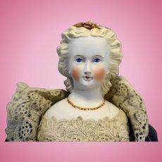 Parian Bisque German Porcelain Doll 20 IN Dresden Flowers Hair Blond Blue Eyes