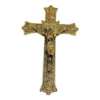 Art Deco Crucifix Gallo Co NY Gold Tone Metal Filigree 9 IN