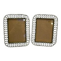 Wire Loop Twisted Metal Picture Frames Pair Easel Back 5 x 7 Green Vintage