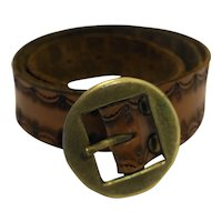 Tooled Leather Belt Brass Buckle 36-40 IN