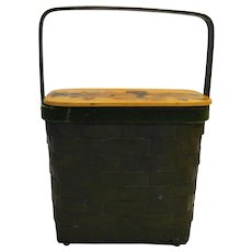 Bent Wood Basket Decoupage Wood Lid 1970s Folk Art Dark Green