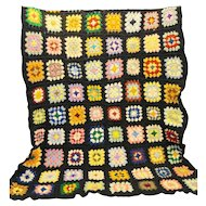 Black Crocheted Granny Square Afghan Lap Blanket Throw Vintage