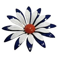 Red White Blue Flower Power Enamel Pin Brooch Large 3 IN