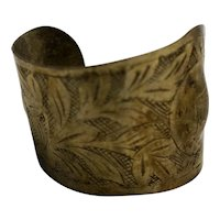 Sterling Silver Engraved Art Nouveau Cuff Bracelet Irregular Form Wide