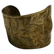 Sterling Silver Engraved Art Nouveau Cuff Bracelet Irregular Form Wide