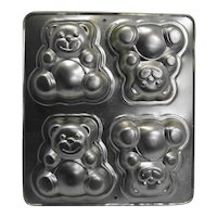 Wilton Teddy Bears Mold Pan 1991 Retired 4 Bears 5 IN
