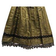 Dark Green Silk Taffeta Black Lace Mourning Apron 1800s Antique