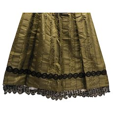 Dark Green Silk Taffeta Black Lace Mourning Apron 1800s Antique