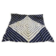 Vera Navy Blue White Diagonal Stripe Diamond Scarf