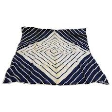 Vera Navy Blue White Diagonal Stripe Diamond Scarf