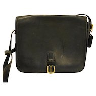 Coach Leather Shoulder Bag Vintage 1970s NYC Black Front Buckle Mail Bag Saddlebag Messenger Style