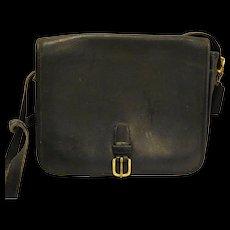 Coach Leather Shoulder Bag Vintage 1970s NYC Black Front Buckle Mail Bag Saddlebag Messenger Style