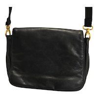 Sereta Black Leather Shoulder Bag Purse