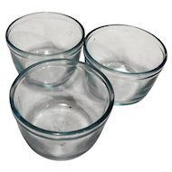 Fire King Oven Glass Sapphire Blue Custard Cups Set of 3 Plain
