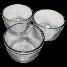 Fire King Oven Glass Sapphire Blue Custard Cups Set of 3 Plain