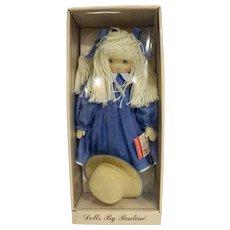 Dolls by Pauline Bjonness Jacobsen Cloth Doll Yarn Hair Blue Dress Sharon 902003