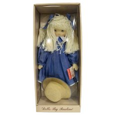 Dolls by Pauline Bjonness Jacobsen Cloth Doll Yarn Hair Blue Dress Sharon 902003