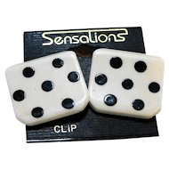 White Black Polka Dot Flat Plastic Clip Earrings