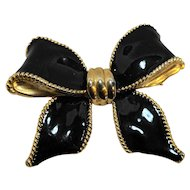 Black Enamel Bow Pin Large 3 IN