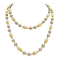 Gold Tone Filigree Bead Ball Long Necklace Single Strand 48 IN