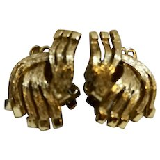 Gold Tone Wave Ribbon Clip Earrings 1960s