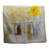 Vera Chiffon Still Life 22 IN Scarf Taupe Brown Yellow Flowers Bottles