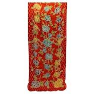 Baar & Beards Top Hit Fashion Red Floral Silk Scarf Occupied Japan 44 X 16