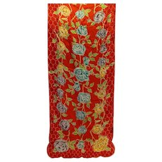 Baar & Beards Top Hit Fashion Red Floral Silk Scarf Occupied Japan 44 X 16