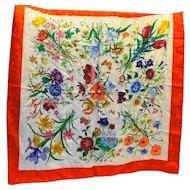 Bright Floral Butterflies Silk Jacquard Scarf 34 IN Italy