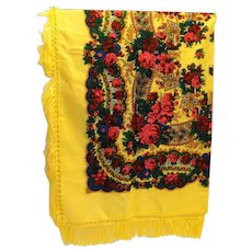 Yellow Acrylic Challis Bright Floral Scarf Shawl 56 IN Square Deep Fringe Japan
