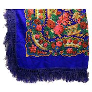 Blue Acrylic Challis Bright Floral Scarf Shawl 56 IN Square Deep Fringe Japan