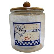 Pillsbury Goodies Glass Cookie Jar Wood Lid Advertising Vintage
