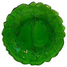 Indiana Glass Avocado Salad Plate Dark Green 1970s