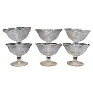 Smith McKee By Cracky Crackle Glass Clear Sherbets Set of 6