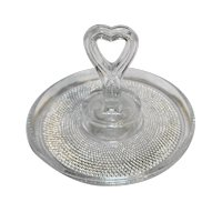 LE Smith Heart Handle Tidbit Bonbon Clear Glass Tiny Hobnail