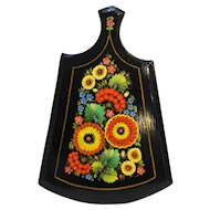 Folk Art Floral Flowers Hand Painted Wooden Cutting Board Small