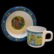 Peter Rabbit Melmac Child Cup Bowl Melamine Plastic Dishes