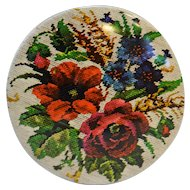 Needlepoint Floral Design Round Tin 6 IN