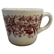 Shenango China Restaurant Ware Red Flowers Cup Mug