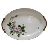 "Royal Embassy Scarsdale 16"" Oval Platter White Flowers Gold Trim"