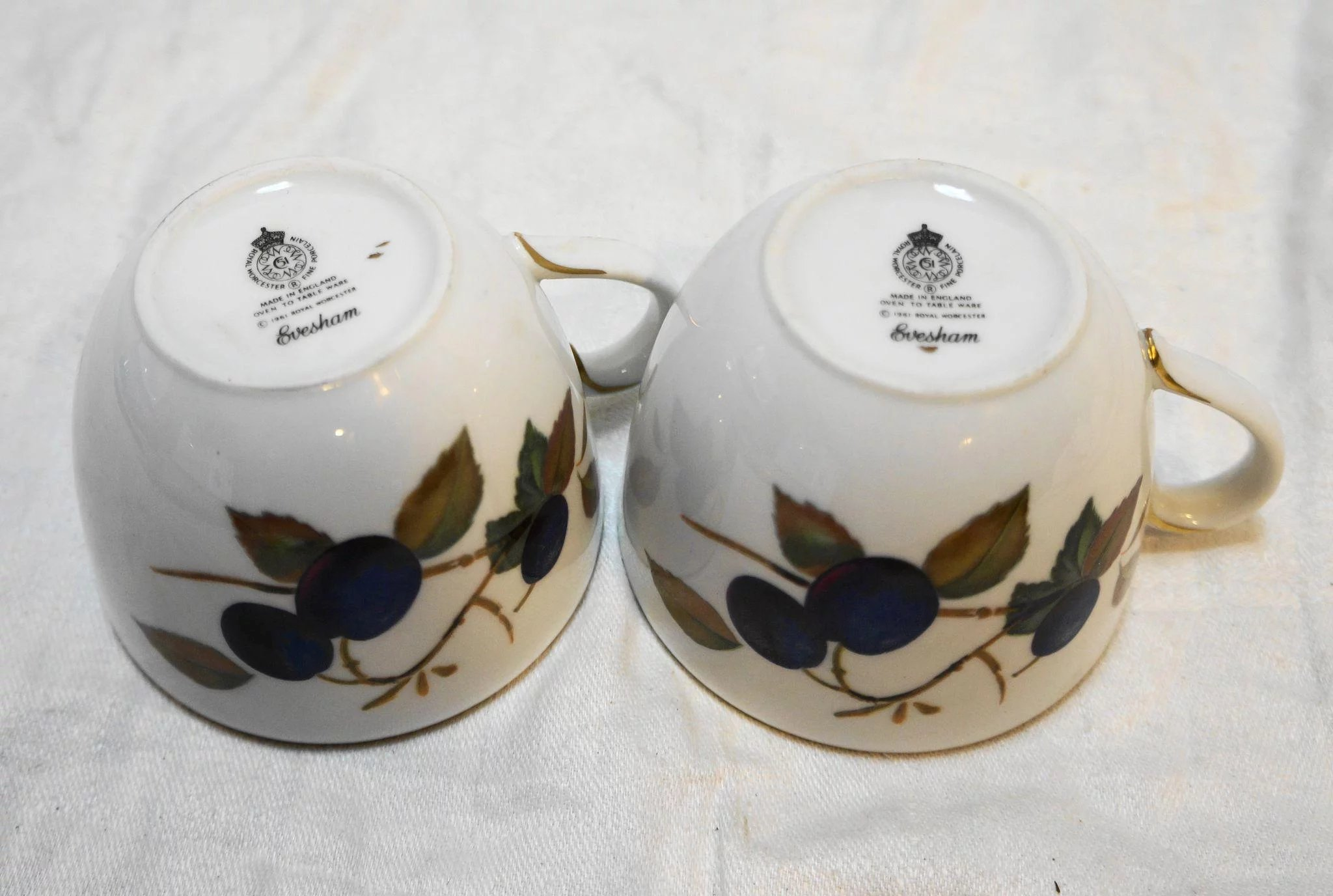 Click to expand & Royal Worcester Evesham Gold Flat Cups Plums Apples Pair : Hoosier ...