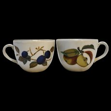 Royal Worcester Evesham Gold Flat Cups Plums Apples Pair