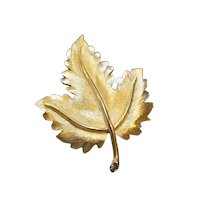 Crown Trifari Gold Plated Leaf Pin Brooch