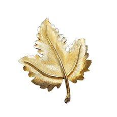 Crown Trifari Gold Plated Leaf Pin Brooch