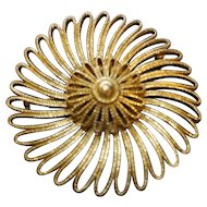 Monet Gold Tone Spiral Swirl Pin 3 IN